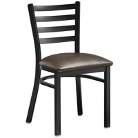 Lancaster Table & Seating Black Finish Metal Ladder Back Cafe Chair with Dark Brown Padded Seat - Detached Seat