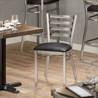 Lancaster Table & Seating Clear Frame Ladder Back Cafe Chair with Black Padded Seat - Detached Seat