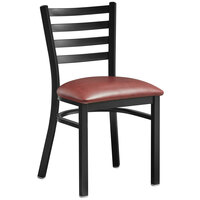 Lancaster Table & Seating Black Finish Metal Ladder Back Cafe Chair with Burgundy Padded Seat - Detached Seat