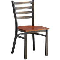 Lancaster Table & Seating Distressed Copper Frame Ladder Back Cafe Chair with Antique Walnut Seat - Detached Seat