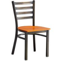 Lancaster Table & Seating Distressed Copper Frame Ladder Back Cafe Chair with Cherry Wood Seat - Detached Seat