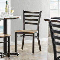 Lancaster Table & Seating Distressed Copper Frame Ladder Back Cafe Chair with Driftwood Seat - Detached Seat
