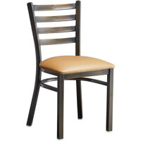 Lancaster Table & Seating Distressed Copper Frame Ladder Back Cafe Chair with Light Brown Padded Seat - Detached Seat