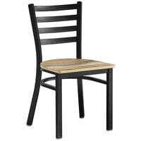 Lancaster Table & Seating Black Finish Metal Ladder Back Cafe Chair with Driftwood Seat - Detached Seat