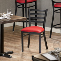 Lancaster Table & Seating Black Finish Metal Ladder Back Cafe Chair with Red Padded Seat - Detached Seat