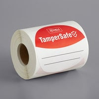 "TamperSafe 3"" Round Customizable Red Paper Tamper-Evident Label - 250/Roll"