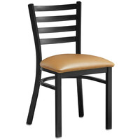 Lancaster Table & Seating Black Finish Metal Ladder Back Cafe Chair with Light Brown Padded Seat - Detached Seat