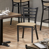 Lancaster Table & Seating Black Finish Metal Ladder Back Cafe Chair with Natural Wood Seat - Detached Seat