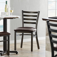 Lancaster Table & Seating Distressed Copper Frame Ladder Back Cafe Chair with Dark Brown Padded Seat - Detached Seat