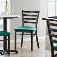 Lancaster Table & Seating Distressed Copper Frame Ladder Back Cafe Chair with Green Padded Seat - Detached Seat
