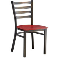 Lancaster Table & Seating Distressed Copper Frame Ladder Back Cafe Chair with Mahogany Wood Seat - Detached Seat