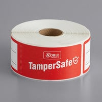 "TamperSafe 1 1/2"" x 6"" Customizable Red Paper Tamper-Evident Label - 250/Roll"