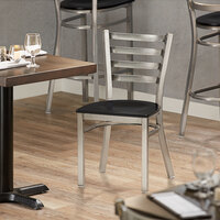 Lancaster Table & Seating Clear Coat Frame Ladder Back Cafe Chair with Black Wood Seat - Detached Seat