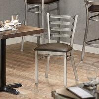 Lancaster Table & Seating Clear Frame Ladder Back Cafe Chair with Dark Brown Padded Seat - Detached Seat