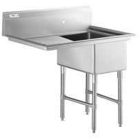 Regency 44 inch 16-Gauge Stainless Steel One Compartment Commercial Sink with Stainless Steel Legs, Cross Bracing, and 1 Drainboard - 17 inch x 23 inch x 12 inch Bowl - Right Drainboard