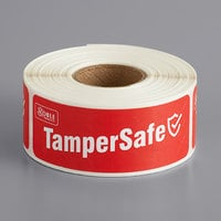 "TamperSafe 1"" x 3"" Customizable Red Paper Tamper-Evident Label - 250/Roll"