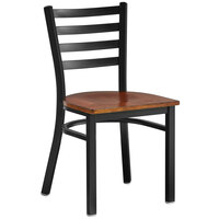 Lancaster Table & Seating Black Finish Metal Ladder Back Cafe Chair with Antique Walnut Wood Seat - Detached Seat