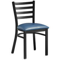 Lancaster Table & Seating Black Finish Metal Ladder Back Cafe Chair with Navy Blue Padded Seat - Detached Seat