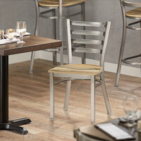 Lancaster Table & Seating Clear Coat Frame Ladder Back Cafe Chair with Driftwood Seat - Detached Seat
