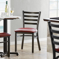 Lancaster Table & Seating Distressed Copper Frame Ladder Back Cafe Chair with Burgundy Padded Seat - Detached Seat