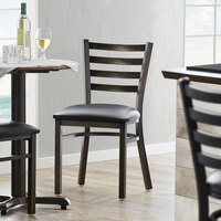 Lancaster Table & Seating Distressed Copper Frame Ladder Back Cafe Chair with Black Padded Seat - Detached Seat