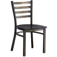 Lancaster Table & Seating Distressed Copper Frame Ladder Back Cafe Chair with Black Wood Seat - Detached Seat