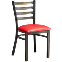 Lancaster Table & Seating Distressed Copper Frame Ladder Back Cafe Chair with Red Padded Seat - Detached Seat