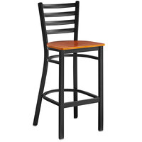 Lancaster Table & Seating Black Frame Ladder Back Bar Height Chair with Cherry Wood Seat - Detached Seat