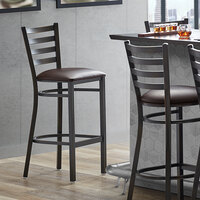 Lancaster Table & Seating Distressed Copper Frame Ladder Back Bar Height Chair with Dark Brown Padded Seat - Detached Seat, Hardware Included