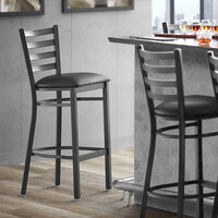 Lancaster Table & Seating Black Frame Ladder Back Bar Height Chair with Black Padded Seat - Detached Seat