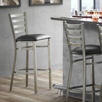 Lancaster Table & Seating Clear Frame Ladder Back Bar Height Chair with Black Padded Seat - Detached Seat