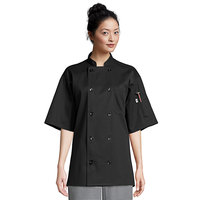 Uncommon Threads South Beach 0415 Unisex Black Customizable Short Sleeve Chef Coat - L