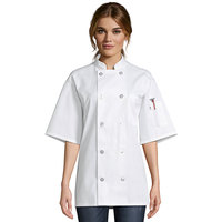 Uncommon Threads South Beach 0415 Unisex White Customizable Short Sleeve Chef Coat - L