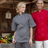 Uncommon Threads South Beach 0415 Unisex Slate Customizable Short Sleeve Chef Coat - L