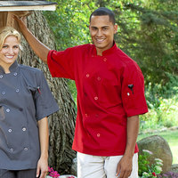 Uncommon Threads South Beach 0415 Unisex Red Customizable Short Sleeve Chef Coat - L
