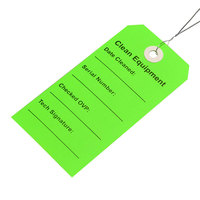 LK Packaging TCEG 2 5/16 inch x 4 3/4 inch Green Clean Equipment Tag with Wire Tie - 500/Case