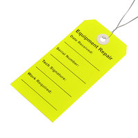 LK Packaging TREL 2 5/16 inch x 4 3/4 inch Lemon Equipment Repair Tag with Wire Tie - 500/Case