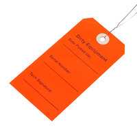 LK Packaging TDER 2 5/16 inch x 4 3/4 inch Red Dirty Equipment Tag with Wire Tie - 500/Case