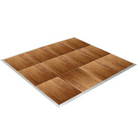 Resilient 12' x 12' American Plank Vinyl Seamless Portable Dance Floor with Silver Trim - 4' x 4' Panels