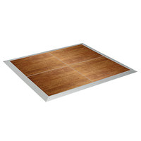 Resilient 12' x 12' American Plank Vinyl Seamless Portable Dance Floor with Silver Trim - 3' x 3' Panels
