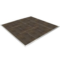 Resilient 12' x 12' Dark Walnut Vinyl Seamless Portable Dance Floor with Silver Trim - 4' x 4' Panels