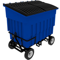 Toter FLA30-00BLU 3 Cubic Yard Blue Rapid Speed Mobile Trash Container / Dumpster with Attached Lid (1500 lb. Capacity)