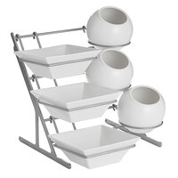 Oneida 3800KIT Modu Grande System 16 inch x 14 inch x 16 inch 13-Piece Stainless Steel Display Rack and Porcelain Displayware Set