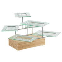 Oneida WS6000GKIT Buffet Euro Wave Blocks 24 inch x 28 inch x 14 inch Multi-Level Bamboo Display Stand with 6 Rectangular Glass Platters
