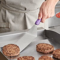 Vollrath 4808880 Jacob's Pride Ergo Grip 8 inch x 3 inch Solid Stainless Steel Hamburger Turner with Purple Nylon Handle