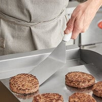 Vollrath 4808715 Jacob's Pride Ergo Grip 6 inch x 3 inch Solid Stainless Steel Hamburger Turner with White Nylon Handle
