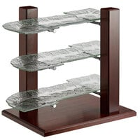 Oneida PILD3GKIT Buffet Euro Pillar and Post 23 inch x 17 inch x 24 inch 3-Tier Mahogany Wood Display Stand with S-Shaped Glass Sea Platters