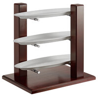 Oneida PILD3CKIT Buffet Euro Pillar and Post 23 inch x 17 inch x 24 inch 3-Tier Mahogany Wood Display Stand with Oval Porcelain Platters