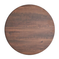 Lancaster Table & Seating Excalibur 32 inch Round Bar Height Table with Textured Walnut Finish and Cross Base Plate