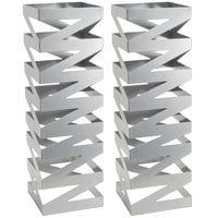 Front of the House BRI007BCI28 Zig Zag 22 1/2 inch Stainless Steel Square Riser   - 2/Set